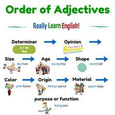 #English #Grammar #inglés #gramática - Order of Adjectives (scheduled via http://www.tailwindapp.com?utm_source=pinterest&utm_medium=twpin&utm_content=post2098117&utm_campaign=scheduler_attribution)