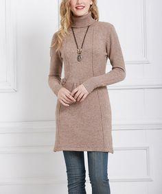 Love this Khaki Turtleneck Sweater Dress on #zulily! #zulilyfinds