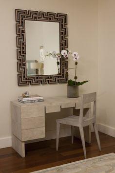 Suzie: Jennifer Eisenstadt - Chic vanity with modern vanity desk & chair, orchid and Shagreen ...