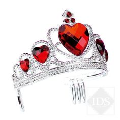 Silver Plastic Tiara With Heart Stones dazzle-dancewear.co.uk