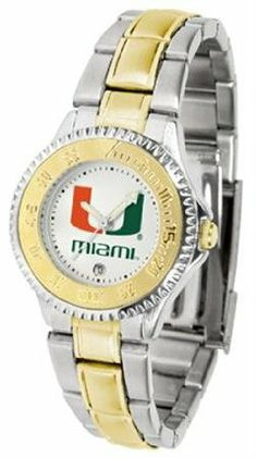 Miami Hurricanes UM NCAA Womens Competitor Two-Tone Watch by SunTime. $86.95. The ultimate fans statement our Competitor Two-Tone timepiece offers men a classic business-appropriate look. Features a 23kt gold-plated bezel stainless steel case and date function. Secures to your wrist with a two-tone solid stainless steel band complete with safety clasp.. Save 21%!