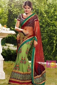 Green and red heavy embroidered work party wear saree with fancy blouseParty wear sarees,Embroidered sarees,Net SareesPrice:$109 matwali.com