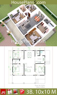 House Design Plans with 3 Bedrooms full interior - House Plans Sam House Floor Design, Modern House Floor Plans, Simple House Plans, My House Plans, House Layout Plans, Simple House Design, Bungalow House Design, House Layouts, Modern House Design