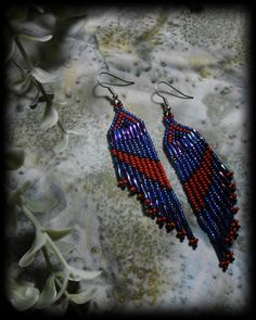 A-line short beaded dangle earring / River by PersephonesPlace