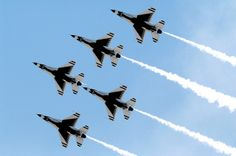 The U.S. Air Force Thunderbirds precision-flying demonstration team flies in formation #USAF