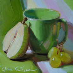 """Green not my favourite colour but I really like it used here. """"Still life in Green"""" - Original Fine Art for Sale - © Elena Katsyura"""