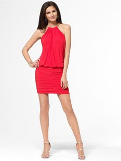CACHE NWT Sexy Red Blouson Stretch COCKTAIL Dress Gold Chain Halter Neck     4 S #CACHE #Blouson #Cocktail