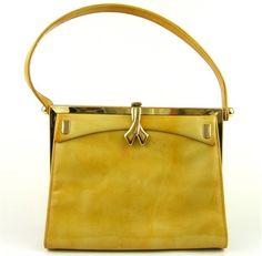 Vintage 50s 60s Yellow Patent leather Handbag Allende