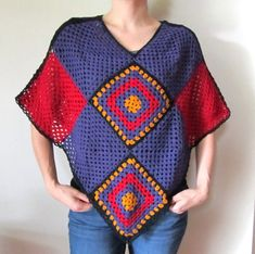 Large Crochet Poncho - Large Square Motif Poncho in Red Purple and Sunflower Yellow - Christmas Poncho - Bohemian Gift for her - Boho chic by ElenisCrochet on Etsy Poncho Crochet, Crochet Blouse, Crochet Stitches, Crochet Patterns, Crochet Bodycon Dresses, Black Crochet Dress, Crochet Christmas Hats, Crochet Gifts, Red Purple