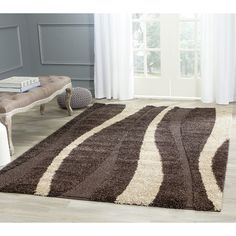 Florida Shag Dark Brown/Beige Area Rug | Wayfair