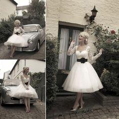 2015 Hot Sale süße kurze plus Größe eine Linie Hochzeit Kleider Tee Länge Organza Vintage schiere Spitze Strand Hochzeit Kleid Brautkleid