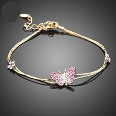 Gold Color Stellux Austrian Crystal Butterfly and Flower Charm Bracelet TS0008