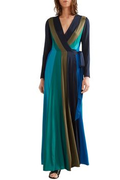 Penelope paneled stretch-silk wrap maxi dress | DIANE VON FURSTENBERG | Sale up to 70% off | THE OUTNET