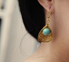Pea Pod earrings - turquoise @BohoGypsy