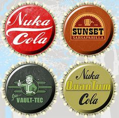 Fallout 4 - Nuka Cola Caps - Fallout Caps 4-Pack Coaster Set by WheretheCoolGiftsAre on Etsy https://www.etsy.com/listing/270132872/fallout-4-nuka-cola-caps-fallout-caps-4