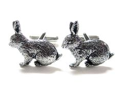 Rabbit Hare Cufflinks. Rabbit Hare Cufflinks By Kiola Designs. Cufflink is roughly 1 inch long by 1 inch tall. Comes in a stylish black cuff link gift box. All orders come with FREE shipping within the US.