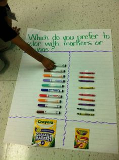 Graph using real objects : Which one would you prefer to use marker or Crayola? pinned with Pinvolve - pinvolve.co