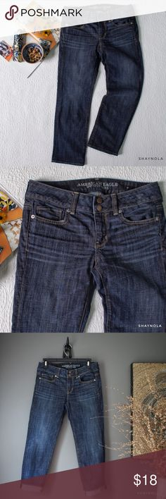 """AEO Artist Stretch Denim Capri Artist style denim capris by American Eagle Outfitters. These are cut more for a Slim and straight figure (as seen on models in collage of web pics). On a curvier shape they seem to be more of a skinny fit. Cotton and spandex fit. Size 4. Excellent, like new condition. No flaws. Waist 15"""", rise 8"""", inseam 24"""", hips 17"""" approx but has stretch. American Eagle Outfitters Jeans Ankle & Cropped"""