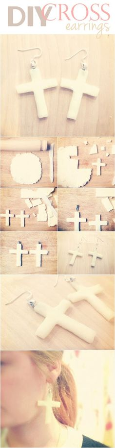 teahab: BACK ROUND TO TUTORIAL TUESDAY DIY cross earrings polymer clay jewellery tutorial
