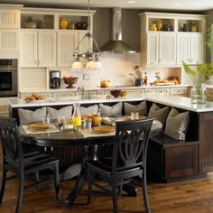 Kitchen island with booth seating.