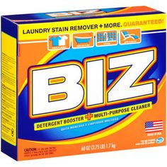 Biz Detergent Booster + Multipurpose Cleaner, 60 oz.  Great for the pre-rinse cycle when you wash cloth diapers to loosen up stains and soil from fabric.