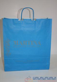 Bolsa de papel en color azul turquesa con asa rizada www.bolsapubli.net/productos/bolsasdepapel.html