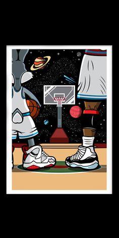 Space Jam x - Smartphone Pop Art Wallpaper, Nike Wallpaper, Wallpaper Iphone Cute, Galaxy Wallpaper, Basketball Drawings, Basketball Art, Love And Basketball, Basketball Doodle, Bugs Bunny Drawing