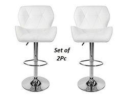 White PU Leather Breakfast Bar Stools 2Pc Swivel Chair Adjustable Height White #PANANA #ArtDeco