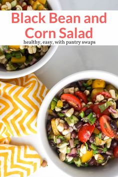 This tasty black bean and corn salad with a zesty lime dressing takes five minutes to toss together and makes an amazing side dish or salsa. #salad #sidedish #kidfriendly #makeahead #quickandeasy
