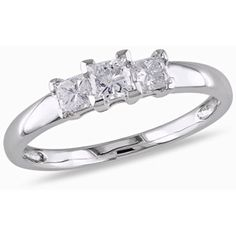 1/2 Carat T.W. Princess Cut Diamond Three-Stone Engagement Ring in 14kt White Gold..... Absolutely Perfect!!!!