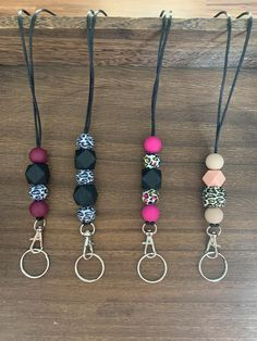 Wood Bead Garland, Beaded Garland, Ring Crafts, Bead Crafts, Lanyard Keychain, Keychain Ideas, Valentines Surprise, Acrylic Keychains, Diy Crafts To Do