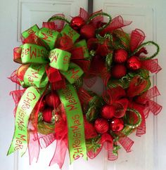 LABOR DAY SALE: Whimsical, Lime Green & Red Striped Deco Mesh Christmas Wreath with Gorgeous Lime Green Merry Christmas Tree Top Bow on Etsy, $50.00