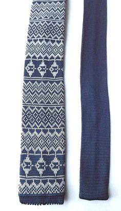 ST GEORGE by DUFFER Skinny Knitted Neck Tie Blue Grey Patterned Weave FREE P&P #StGeorgebyDuffer #Tie