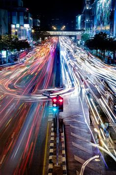 Bangkok Traffic by mark burban (snapmole) © . now this one you got to love, fantastic colorful long exposure light trails . Urban Photography, Night Photography, Amazing Photography, Photography Tips, Fashion Photography, Photography Awards, Photography Lighting, Slow Shutter Speed Photography, Light Trail Photography
