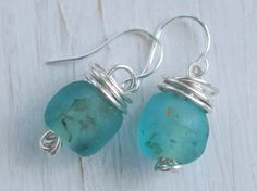recycled glass bead earrings in sterling silver ... sea foam, blue, pale green recycled glass beads - eco friendly fair trade jewelry