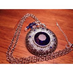 Sapphire Rhinestone Silver Medallion Pendant with 20 in rolo chain and... ($21) ❤ liked on Polyvore featuring jewelry, pendants, chains jewelry, sapphire pendant, medallion pendant, silver pendant and chunky silver jewellery