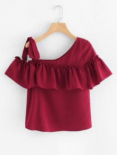 Tie One Shoulder Ruffle Top -SheIn(Sheinside) Girls Fashion Clothes, Teen Fashion Outfits, Chic Outfits, Trendy Outfits, 13 Year Girl Dress, Dress Up Shoes, Mode Top, Stylish Dresses For Girls, Crop Top Outfits