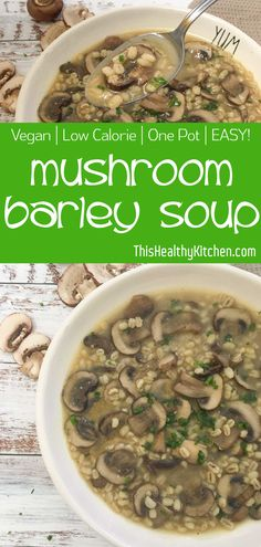 Simply delicious #mushroom barley #soup is low in fat, but rich in flavour. With 6 ingredients required, this #unami earthy soup is a must try. #easyrecipe #plantbased #mushroomsoup #vegansoup #comfortfood #barley #lunch #dinner #veganfood
