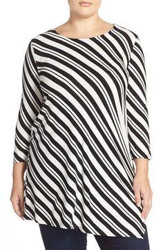 Vince Camuto 'Arrow Stripe' Asymmetrical Hem Knit Top (Plus Size)