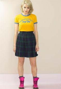 Vintage 90's Tartan Pleated Skirt