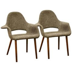 Set of 2 Forza Taupe Twill Accent Chairs