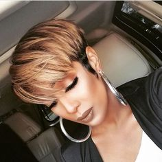 Mixed Brown Short Pixie Wigs For Black Women Natural Looking Synthetic – GBWig Short Black Hairstyles, Pixie Hairstyles, Short Hair Cuts, Haircuts, Black Pixie Haircut, Hairstyles 2018, Short Pixie Wigs, Pixie Cut Wig, Pixie Bob