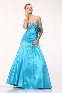 Dropped Waist Beading Long Sweep Train Sweetheart Evening Dress