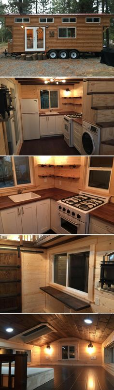 A cozy luxe tiny house available for sale in Bend, OR sq ft) , Building A Tiny House, Tiny House Plans, Tiny House On Wheels, Tiny House Nation, Tiny House Living, Cozy House, Tiny Cabins, Small Places, Tiny Spaces