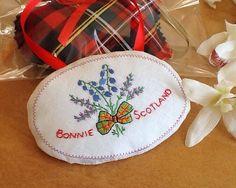 Natural Lavender Sachet, Lavender Pillow, Lavender Bag, Wedding Gift, Vintage Hankerchief, Applique, Plaid Tartan Bow, Scottish Design by MadAboutHankies on Etsy https://www.etsy.com/listing/217535428/natural-lavender-sachet-lavender-pillow