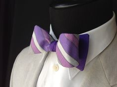 Purple, Silver & Gray Stripe with Dark Purple Psuedo Suede Reversible Adult Adjustable Bow Tie Skinny Butterfly Style by LoweBowOriginals on Etsy