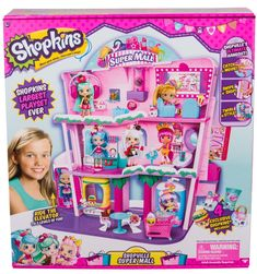Join the Shoppies for a shopping spree at the Shopkins Shoppies Shopville Super Mall Playset The Playset has 3 levels of shopping fun for display… Baby Alive Dolls, Baby Dolls, Shopkins Super Mall, Shopkins Playsets, Toys For Girls, Kids Toys, Shopkins World, Shopkins Gifts, Craft Fair Displays