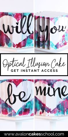 In this cake decorating tutorial, you'll learn how to create an 8 sided optical illusion effect on your next unique cake design! When you turn this cake, it reveals an image at each corner. This is the perfect cake design idea to offer those looking for a proposal cake and would make a great addition to your home bakery menu or storefront menu. Avalon Cakes School, for intermediate and professional cake decorators, has hundreds of cookie and cake tutorials and cake decorating masterclasses.