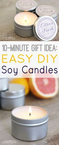 The best DIY projects & DIY ideas and tutorials: sewing, paper craft, DIY. Diy Candles Ideas & Wax melts Easy 10 Minute Gift Idea: DIY Soy Candles - whip up a batch and keep them on-hand for unexpected birthdays, holidays and Homemade Candles, Scented Candles, Diy Candles Soy, Diy Vegan Candles, Diy Candle Labels, Yankee Candles, Jar Candles, Aromatherapy Candles, Diy Simple