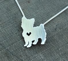 Yorkshire Terrier necklace sterling silver hand by justplainsimple